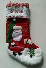 Pottery Barn Kids Christmas Red Gingham Quilted Santa Claus Stocking Name STEVEN