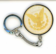 GOLD AND SILVER MORGAN SILVER DOLLAR COIN KEYCHAIN-1885 O BEAUTIFUL GOLD EAGLE