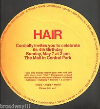 "Fourth Birthday ""HAIR"" Central Park Celebration 1972 ""Frisbee"" Invitation"
