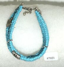 #7021 Turquoise & Tibet Silver Accents, 13 Strand Adjustable Bracelet