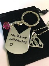 You're My Superhero/Sidekick Pendant Necklace/ Keyring Set (Superman)
