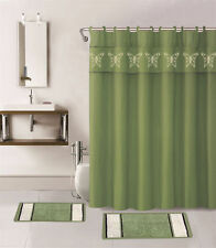 15PC SAGE GREEN BUTTERFLIES BATHROOM SET 2BATH MATS 1SHOWER CURTAIN FABRIC HOOKS