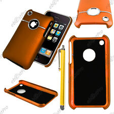 Housse Coque Rigide Silver-Line chromé Orange Apple iPhone 3GS 3G + Stylet