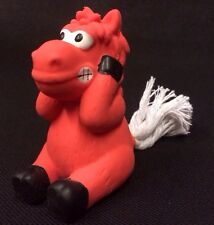 Dog Toy 3 Inch Tall Latex Squeaky Red Horse With White Rope Tail