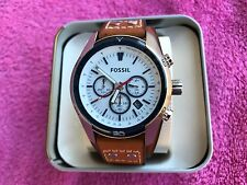 NWT Fossil Men's CH2986 Coachman Chronograph White Dial Brown Leather Watch
