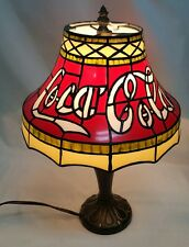 """Coca-Cola Stained Glass Tiffany Style Accent VTG table Lamp Plastic Shade 15"""""""