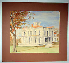 """16"""" Vintage Watercolor Painting on Paper Americana House Building Great Lines"""
