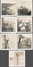 Lot of 7 Vintage Photos Navy Men Unusual WWII Shipwreck Iwo Jima 732354