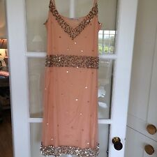 Pink Soda Boutique Peach Charleston Style Silver Sequin Dress Size 10-12 Medium