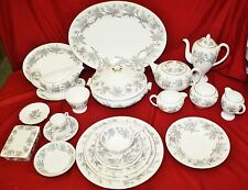 Wedgwood Ashford Grey & White China 139 Pc - Service for 12 Plus - MINT