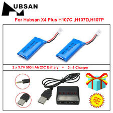2x3.7V High 500mAh Battery+5in1 Charger for Hubsan X4 H107D H107P H107C RC Drone