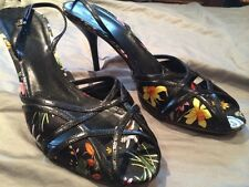 Gucci Black Silk Leather Flora Flower Stiletto Sling Back Leather Shoes 10B