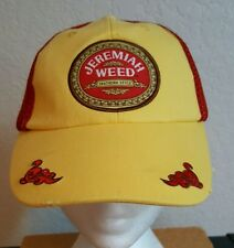 Jeremiah Weed Ball Cap Trucker Hat Adjustable Distressed Red and Yellow