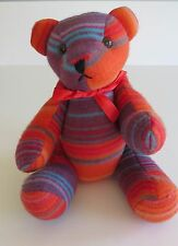 "Plush Fleece Jointed Teddy Bear 14"" Multi Color Striped By Youngrowth Toys"
