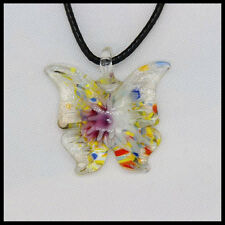 Fashion Women's butterfly lampwork Murano art glass beaded pendant necklace #A36