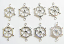 8 Metal Antique Silver Captain's Wheel Jewellery Connectors/Charms - 27mm