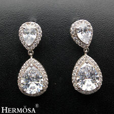 Valentine's Gift AAA 925 Sterling Silver Exquisite Clear White Topaz Earrings