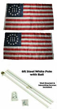 3x5 Betsy Ross Nyberg 3% Percent 2ply Flag White Pole Kit Gold Ball Top 3'x5'