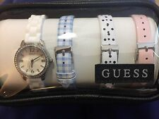 NWT GUESS Women's U0784L1 Feminine Interchangeable Leather Wardrobe Watch Set