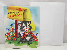 Vintage Wish I'd Get A Note Greeting Card Envelope & Pencil Unused USA Fill In