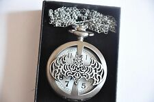 Vintage Antique Bat Man Super hero Pocket Watch Chain Pendant Necklace Gift box