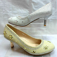 LADIES GLITTERY DIAMANTE WEDDING PARTY MID HEEL SHOES,GOLD SILVER 3-8 H105