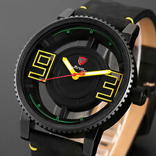 Megamouth Shark Mens Black Yellow Leather Hollow Dial Quartz Fashion Sport Watch
