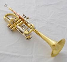 Prof Gold Lacq C Key Trumpet Horn Monel Valve Cupronickel Tuning Pipe With Case