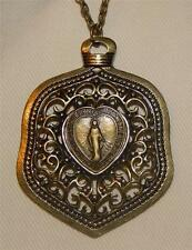 Striking Open Swirls Sloped Immaculate Mary Miraculous Heart Pendant Necklace