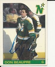 Signed Don Beaupre Minnesota North Stars 85-86 O-PEE- CHEE  Hockey Card #142