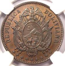 1883-EG Bolivia Essai Centavo Coin (1C KM-E2 Bronze) - Certified NGC MS62 (BU)