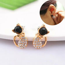 1 Pair Women Lady Rhinestone Bowknot Kitten Earring Cute Cat Ear Stud Gift