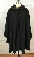 Womens Black Fleece Cape Coat Womens One Size Fits Most Cloak Faux Fur Trim