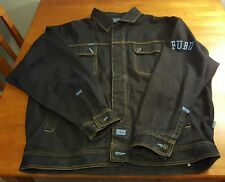 FUBU XL Men's Jean Jacket Denim Cotton Dark Wash Blue Collection XL Very Heavy