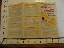 WINE and CHEESE 17 Recipes & serving ideas 1950's but undated
