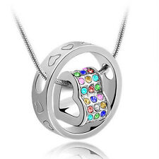 Fashion Jewelry Women Heart Mix Crystal Charm Pendant Chain Necklace Silver QO09
