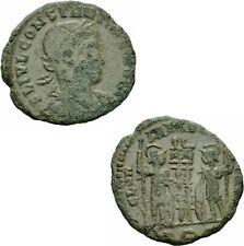 Constantius II Follis Rom 333-335 GLORIA EXERCITVS Soldat Standarten RIC 352 r1
