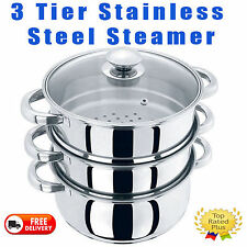 3PC 20CM STAINLESS STEEL STEAMER COOKER POT SET GLASS LIDS 3 TIER PAN COOK FOOD