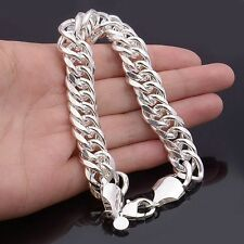 Hot Silver Men's Bracelet Link Chain Fashion Jewelry Lobster Clasp