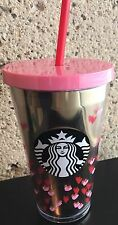 Starbucks 2017 Valentine Gold Tiny Pink Hearts Cold Cup Tumbler 16oz
