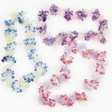 Iridescent and Organza Flower Leis NEW Luau & Party Supply Decoration Dozen (12)