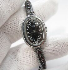 "RUSSIAN,60's,17j Manual Wind,""Rhodium Plated Band"",LADIES WATCH,688,L@@K"