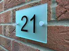 MODERN HOUSE SIGN PLAQUE DOOR NUMBER FROSTED GLASS ACRYLIC STREET NAME