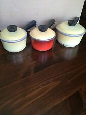 Vintage Club Aluminum Cookware lot - 6 pcs.Harvest Gold/Yellow/Red Pots and lids