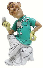 DENTIST  COMICAL FIGURINE MALE DOCTOR Sitting on Tooth Chair 5.8 IN. DENTURIST