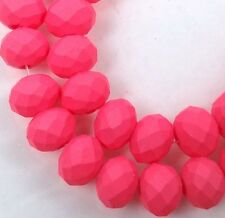 """8x5mm Matte Frosted Neon Glass Faceted rondelle Beads - Pink 16"""""""