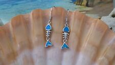 BRILLIANT STERLING SILVER BLUE FIRE OPAL FISH SKELETON WIRE EARRINGS