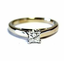 14k white gold platinum .50ct SI1 G LEO princess diamond engagement ring 4.1g