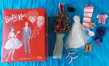 1964 MATTEL BARBIE AND KEN RED DOLL TRUNK WITH ASSORTED CLOTHES & ACCESSORIES