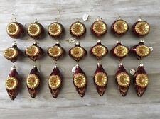 Lot Of 21 Burgundy Gold Orange Christmas Ball Ornaments 3 Styles